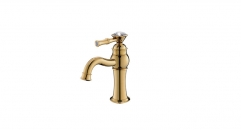 Single Handle single hole Bathroom Faucet, diamond decoration copper basin mixer, cold and hot water basin faucet