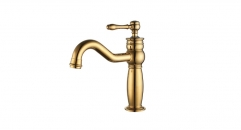 luxury Single Handle single hole Bathroom Faucet, titanium gold color copper basin mixer, cold and hot water basin faucet