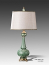 European Antique Porcelain Green Table Lamp Brass Base Luxury Ceramic Art Decoration
