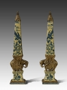 European Style Porcelain Brass Elephant Decorative Column Antique Ceramic Tower Art Ornament