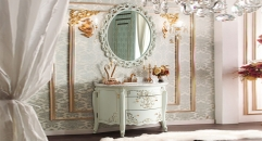 ivory and gold paint color oak cabinet and mirror, carrara white marble, three holes and single basin bathroom vanities