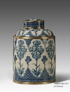Antique Porcelain Flower Decorative Tea Caddy Box Luxurious Ceramic Storage Case