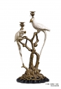 European Style Brass and Ceramic Parrot Decorative Candlesticks Luxurious Antique Decoration Candle Holders