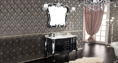 black and silver paint oak cabinet and mirror,carrara white marble, single hole and single basin bathroom vanities
