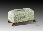 European Style Luxury Porcelain and Brass Light Green Shell Embossed Tissue Box Copper Base Cover Case Art Ornament