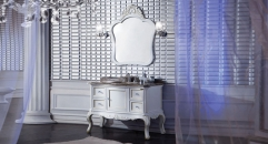 champagne silver color oak cabinet and mirror, volakas white marble, three holes and single basin bathroom vanities