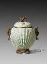 European Style Antique Brass and Porcelain Light Green Shell Embossed Storage Jar Luxury Canister Art Ornament