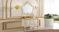 ivory color oak cabinet and mirror, peach jade marble, three holes and single basin bathroom vanities