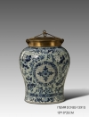 European Style Antique Porcelain Decorative Storage Jar Luxury Ceramic and Copper Art Ornament