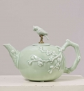 European Antique Exquisite Porcelain Bird Decorative Teapot Luxury Brass and Ceramic Flagon Wine Pot Art