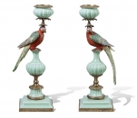 European Style Antique Brass and Ceramic Parrot Decorative Candlesticks Luxury Art Decoration Candle Holders