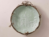 European Style Ceramic and Brass Embossed Plate Antique Porcelain Wall Art Dish Decor