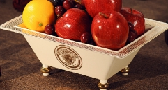 Medusa style rectangle fruit bowl bowl, blue and white porcelain compote