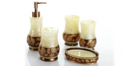 5 pcs phoenix carving resin bath set, cup, toothbrush holder,soap dish,lotion bottle, Christmas gift