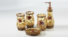 5pcs flowers blooming resin bathroom set , tumbler,toothbrush holder,soap dish,lotion bottle, wedding gift