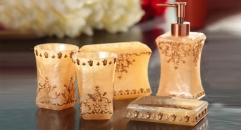 5 pcs flower and pearl decorative resin bath set, cup, toothbrush holder,soap dish,lotion bottle, Christmas gift