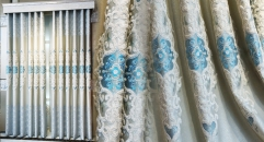 Modern Luxurious Sky Blue Curtain Customized Quality Embroidery Jacquard Fabric Curtains Transparent Gauze
