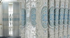 Embroidery Luxurious Chenille Curtain Customized Light Blue Jacquard Imperial Quality Fabric Curtains Transparent Gauze
