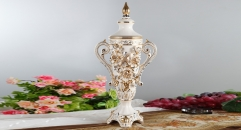 exquisite royal display relief carving porcelain art decoration trophy, ivory roses ceramic on-glazed double ears trophy