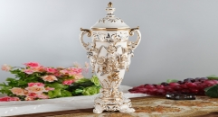 superior royal display relief carving porcelain art decoration trophy, ivory ceramic on-glazed double ears trophy