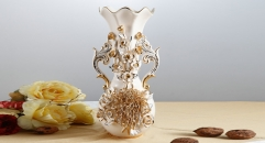 double ears Italy style ivory porcelain vase, high quality chrysanthemum vase, exquisite hand made flowers carving vase