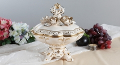 Italy style exquisite hand made porcelain sugar jar, classical golden home decoration jar