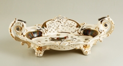 exquisite European royal ivory porcelain style tray, luxury handmade round plate, royal fruit plate