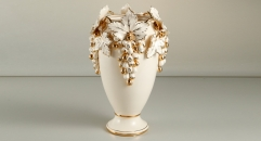 exquisite grapes decorative vase , luxury ivory ceramic hand made vase, European style table vase