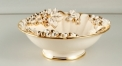 round mouth luxury workmanship gold inlay ceramic compote, grapes decorative hand made sugar bowl, ivory porcelain fruit bowl