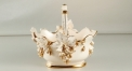 exquisite Baroque style ivory ceramic fruit basket, exquisite handmade tray, golden grapes decoration plate