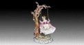 European style colorful glazed porcelain home decoration, playing a swing decoration item