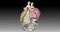 European style colorful glazed porcelain home decoration, joyful sisters decoration item