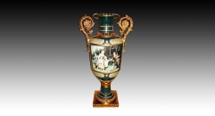 dark green porcelain art decoration, western noble people ceramic on-glazed trophy, double golden flowers shape ears trophy