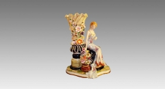 luxury style ceramic hand made vase, colorful porcelain table vase with an elegant beauty lady