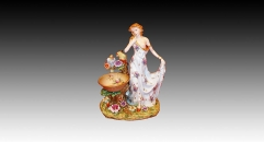 European style colorful glazed porcelain home decoration, noble lady feed the parrots decoration item