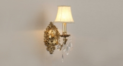 energy saving golden copper and import crystal wall lamp, art decoration bedroom lighting, european antique reading lamp