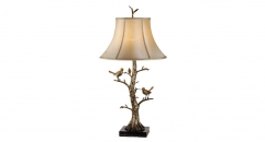 golden copper and import marble table lamp, energy saving and environmental friendly birds singing on the tree table lighting