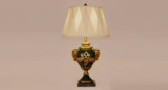 showily golden copper and import dark green marble table lamp, energy saving and environmental friendly table light