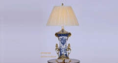 golden copper blue and white porcelain table lamp, energy saving and environmental friendly vintage beauty design table light