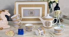 8 pieces classical european style coffee set with tray, bone china tea set, high quality famous brand mosaic H coffee set