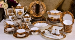 69 pieces Medusa and leopard design porcelain dinner set, famous royal design classical ceramic dinnerware set