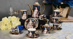 15 pieces high quality western noble lady theme coffee set ,royal european style coffee set, bone china tea set