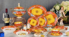 69 pieces orange lucky and joyous design porcelain dinner set, famous royal design classical ceramic dinnerware set
