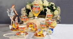 15 pieces high quality orange lucky and joyful theme coffee set ,royal european style coffee set, bone china tea set