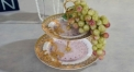 classical workmanship royal bone china 2 layer porcelain style tray, double layer God of Sun decoration fruit plate