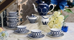 15 pieces high quality blue and white theme coffee set ,royal european style coffee set, bone china tea set
