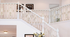 simple European design luxury aluminum stair railing, beige plating fence