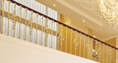 European interior design classical aluminum stair railing, luxury gold plating fence