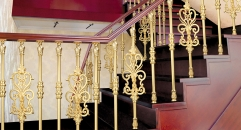 Golden plating carving design classical aluminum stair railing, exquisite workmanship fence