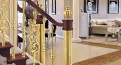 European interior design luxury aluminum stair railing, golden color plating and flowers carving fence